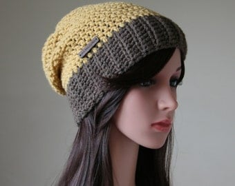 Slouchy Beanie in Mustard and Chocolate