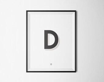 minimalist  typography print poster - D