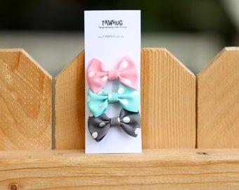 set of 3 polka dot baby girl hair clip( Pink/Mint/gray), Polka dot hair clip, baby girl hair clip, baby girl hair ribbon, hair bow