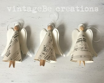 Christmas Angels Tree Decoration Vintage Music Notes Ornaments, 3 Pack vintageBe creations READY TO SHIP