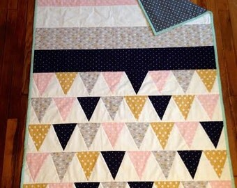 Stripes & Triangles Baby Quilt