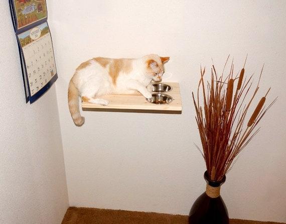 cat furniture raised cat feeder wall mounted food shelf cat. Black Bedroom Furniture Sets. Home Design Ideas