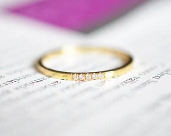 Minimalistic Engagement Ring Diamond 18K Gold Ring Rose Gold Engagement Ring 18K Yellow Gold Diamond Ring 14k Engagement diamond ring