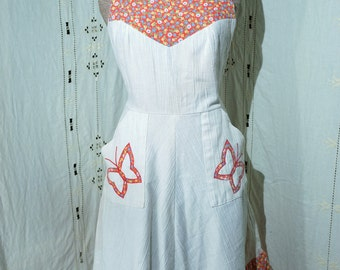 1970's Off White FarmGirl Maxi Dress with Butterfly and Flower Detail