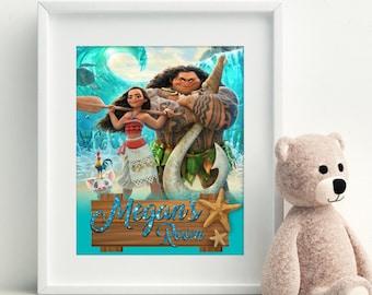 Disney Princess Moana Print, Moana Printable, Moana Wall Art, Moana Digital Print, Customizable Wall Art, Princess Wall Art, Moana Print