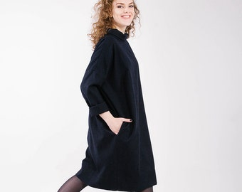Cocoon dress - dark blue warm dress with long sleeves