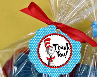 Dr. Seuss Favor Tag Thank You Sticker Baby Shower Party Printable - Party Designs Co