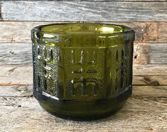 Vintage Green Glass Flower Pot, Green Glass Plant Pot