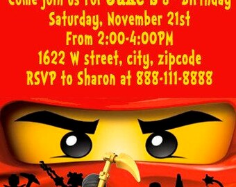 Lego Ninjago Birthday Invitation
