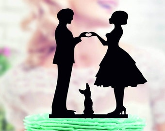 wedding cake topper with puppy , Wedding Cake Topper + puppy , Wedding cake topper with dog , family cake topper , cake topper young dog