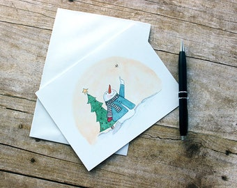 Christmas Snowman - Snowman Pointing to Star - Snowman Greeting Card - Christmas Greeting Card - from Original Watercolor Illustration