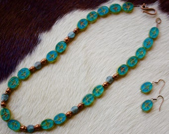 Handmade Glass with Copper Necklace with Matching Earring.
