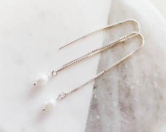 Pearl Drop Earrings/white Pearl Earrings /Silver Drop Earrings/ Pearl Chain Earrings/Minimal Earrings