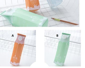Milk box pencil case,milk carton pencil case,milk carton pouch,soft pouch,pencil case large,kawaii pouch,milk box pouch,pencil pouch