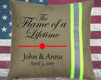 Firefighter TAN Pillow - The Flame of a Lifetime