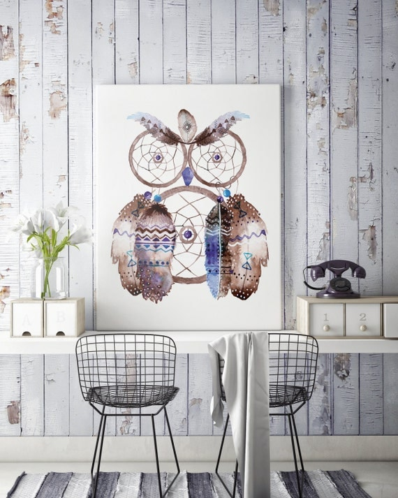Boho Owl | Canvas art | Wall decor | Hippie art | Feathers | Dreamcatcher | Native americans art | art prints for sale | Watercolor