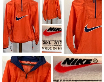 Neon Windbreaker Nike Vintage Orange fluorescent Nylon Half Zip Pullover Huge Swoosh Tag worn destroyed stained Oversized Big XXXL
