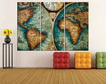 Large abstract art black and turquoise world map canvas print antique world map canvas print vintage world map wall art canvas extra large wall sciox Images
