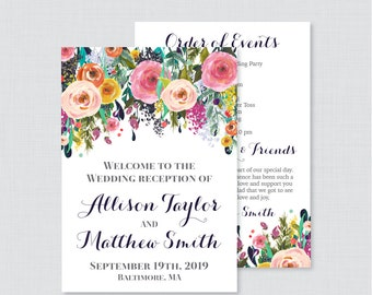 Printable OR Printed Wedding Reception Program - Floral Wedding Reception Program Card, Personalized Reception Programs Flowers 0003-B