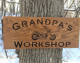 Grandpa's Workshop Custom Wood Sign with Motorcycle, Personalized Wood Sign, Carved Wooden Signs, Custom Fathe'rs Day Gift, Workshop Sign