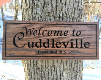 Custom Carved Welcome Sign, Engraved Welcome Sign, Wood Sign with Names, Personalized Wooden Sign, Housewarming Gift, Engraved Wood Sign