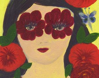 Original painting on paper - Flowers Eyes