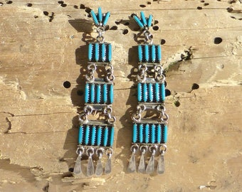 Sterling Silver and Turquoise Petite Point Earrings