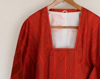 Set of 2, Tomato red Kimono Jacket and Maxi Skirt, Vintage Japanese Kimono Coat,  kimono Coat, Michiyuki, antique Kimono, beautiful kimono,