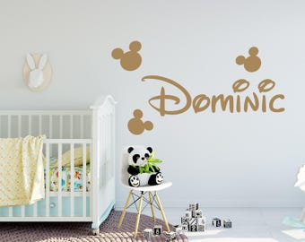 Boy Name Wall Decal Mickey Mouse Decals Nursery Decor Wall Decal Personalized Baby Boy Wall Art Decal Decor Custom Name Vinyl Sticker kp2