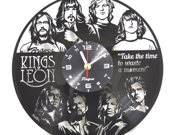 KINGS OF LEON Vinyl Record Clock Rock Art Kings Of Leon Home Wall Decor for Living Room and Bedroom Hand-made Gift for Kings of Leon Fan