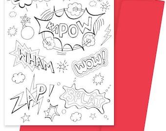 A5 Colouring Card- Kapow!