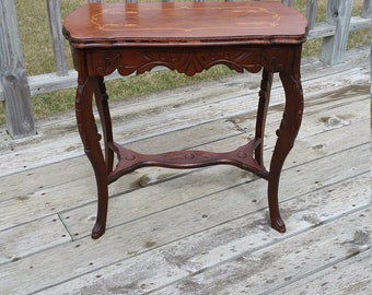 Inlaid Wood Vintage Carved Wood End Table, Side Table, Occasional Table, Telephone Table