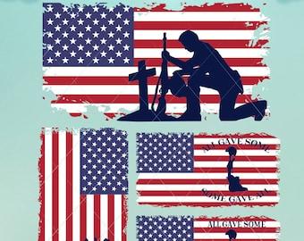 American Flag with Soldiers / Svg / American Flag Svg / Flag Dxf / Flag Png / Soldier Flag / Fallen Soldiers / Digital Files / Flag Bundle