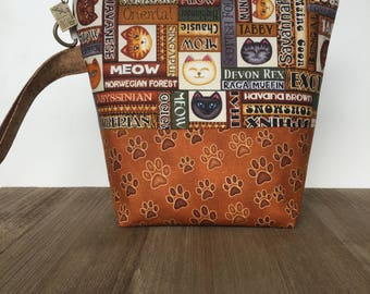 Knitting Project Bag, Knitting Bag, Zippered Project Bag, Sock Knitting, Wedge Bag, All the Cats Fabric