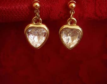 Gold tone clip on and screw back heart shaped drop earrings