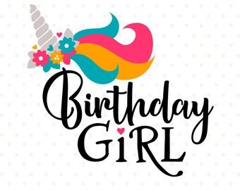 Birthday Girl SVG, Unicorn Birthday SVG, Unicorn iron on file, Birthday Shirt file, Unicorn svg file, Birthday DXF, Commercial svg