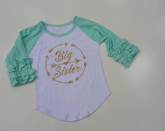 Ruffle Sleeve Raglan Big Sister Custom top baby girls toddler
