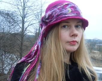 Purple cloche hat  Felt hat Felted hat Cloche hat Art deco hat