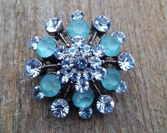 Frosty Blue Rhinestone Brooch or Pendant
