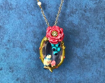 Handmade Enamel Bird on a Perch Necklace, 3D, Spring, Nature, Animal, Gold, Unique, Mother's Day