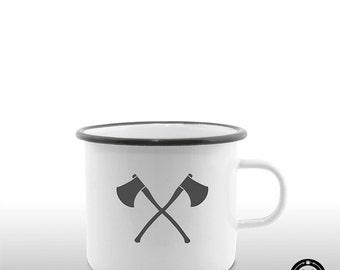 Outdoor axe man enamel mug / Cup gift Christmas friend design, minimalist, cool, boho, vintage, man gift, hipster