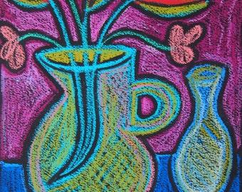 Flowers Dancing in Color Oil Pastel Original drawing