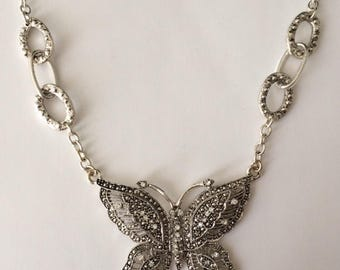 Vintage 90's Diamante Rhinestones Marcasite Butterfly Statement Chain & Pendant Necklace