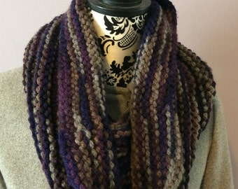 Knit Cowl, Hand Knit Earth Tone Cowl, Cowl Scarf, Ladies Cowl, Warm Winter Cowl