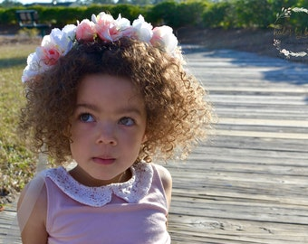 "The ""Riley"" Floral Halo Crown // pink wedding, pink flower crown, pink flower girl crown, flower crown, wedding headpiece"