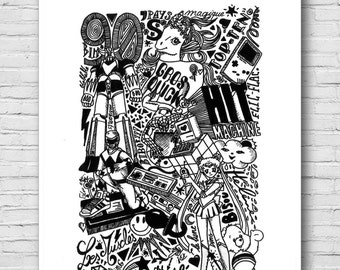 Post 90's, black and white illustration, reproduction, art, generation 90's cartoons, A4, doodle