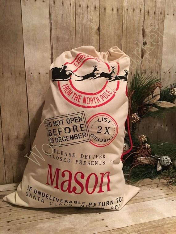 Personalized Santa Sack, Santa Bag, Custom Christmas Laundry Bag, Christmas Gift Bag