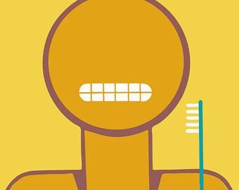 Keep Your Teeth Clean Poster, Bathroom Poster, Brush Your Teeth, Bathroom Wall Art, Wash Room Reminder, Wall Poster, Bath Art, Gift