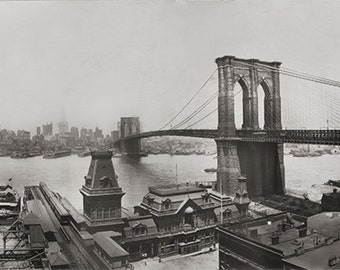 NYC Panoramic Photo, East Bridge, New York, 1930, Sepia Photographs, Historical Photo Early New York City, Industrial Chic, Executive Loft
