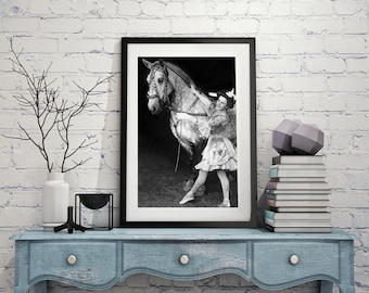 Circus Performer With Horse, Black and White Photography, Appaloosa Circus Horse, Vintage Circus, Wall Art, Home Decor